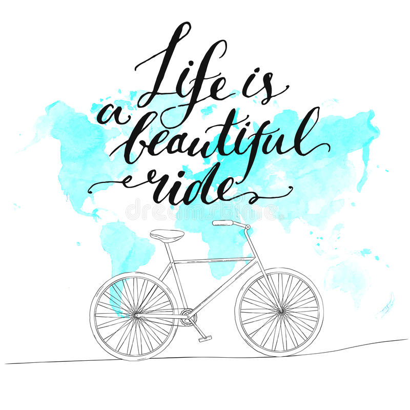 Inspirational quote - life is a beautiful ride royalty free illustration