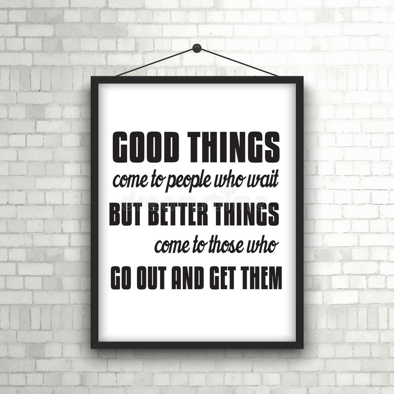 Inspirational Quote In Picture Frame On Brick Wall Stock Vector ...