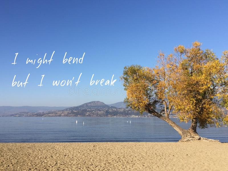 Inspirational quote on scenic autumn lake landscape.I might bend but I won`t break royalty free stock photography