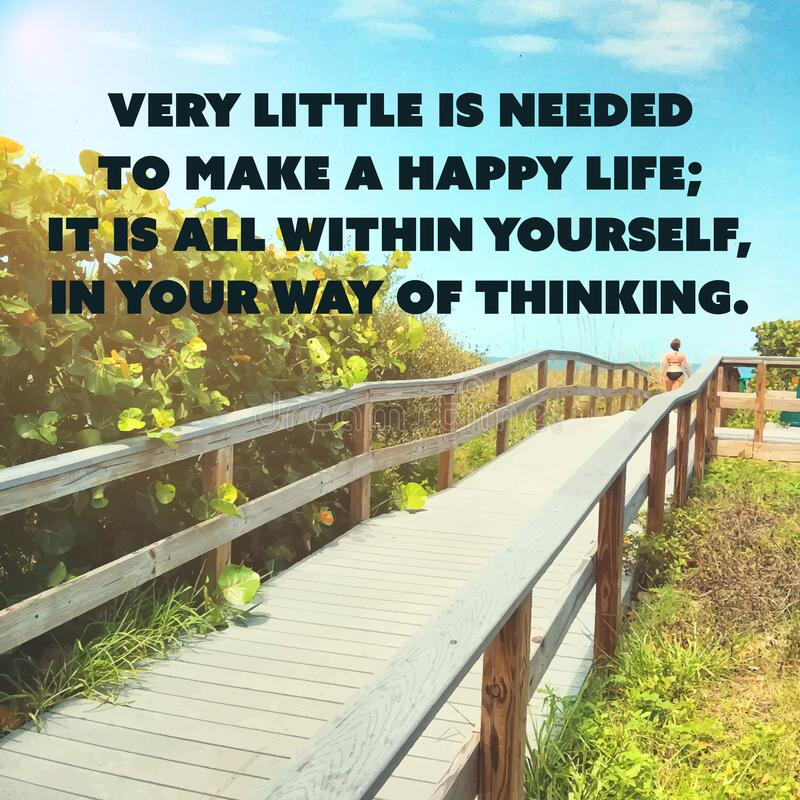 Inspirational Quote - Very Little is Needed to Make a Happy Life stock images