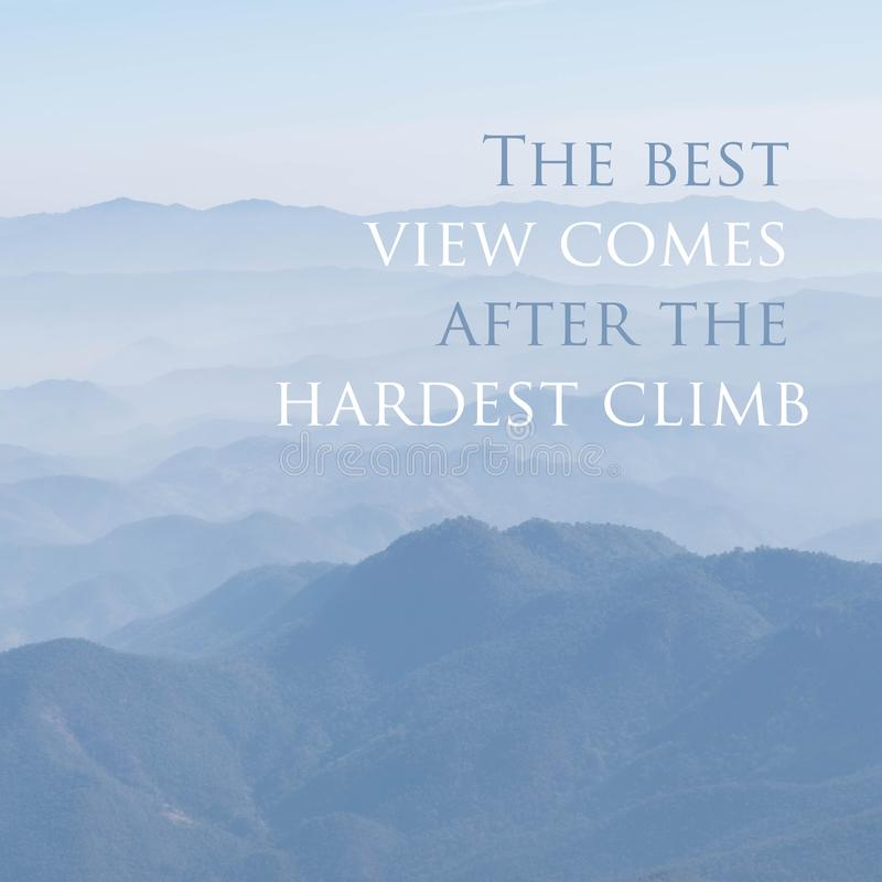 Inspirational quote words. With view nature stock photo