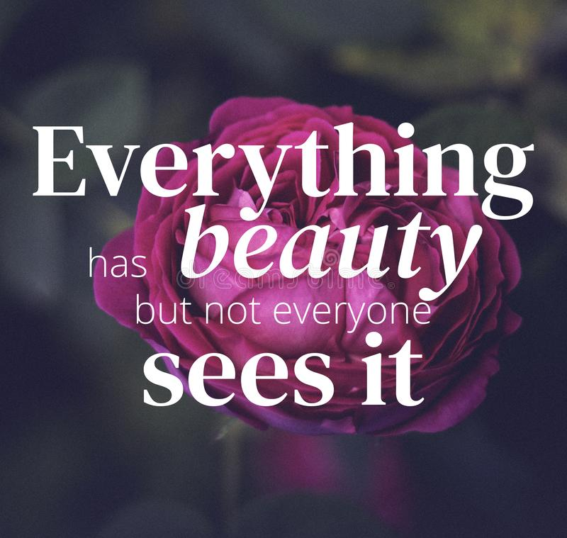 Inspirational quotes. Everything has beaty but not everyone sees it. Nature background stock image