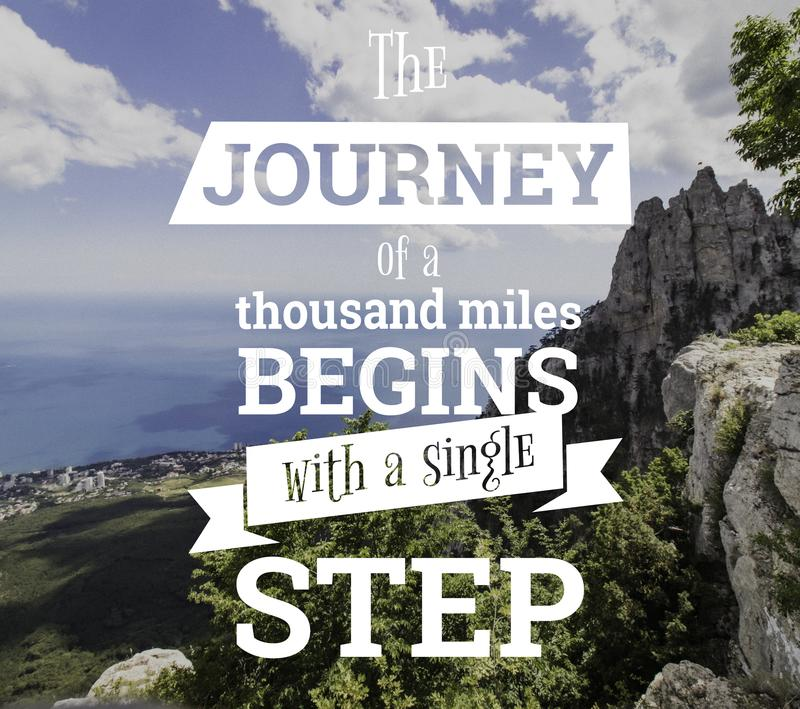 Inspirational quotes. The journey of a thouthand miles begins with a single step stock images