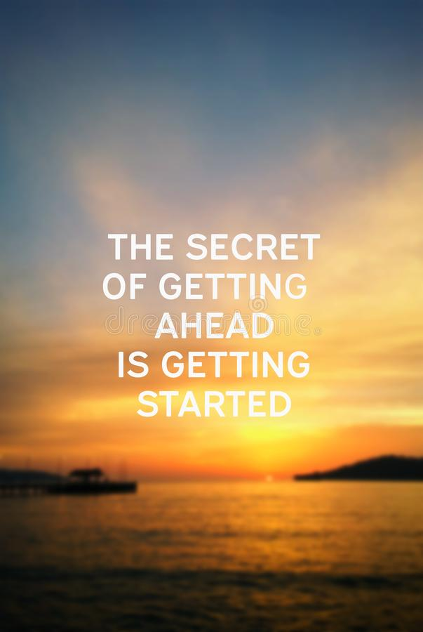 The secret of getting ahead is getting started royalty free stock photos