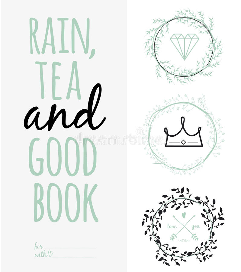 Inspirational romantic quote card. Rain, tea, and vector illustration