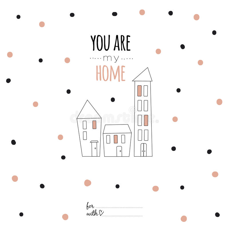 inspirational r tic quote card you are my home stock vector