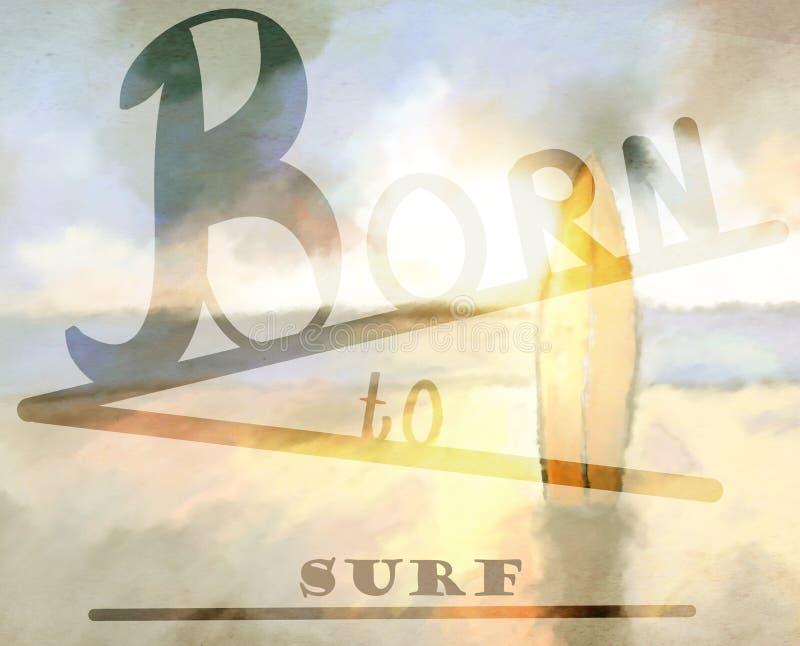 born to surf background vector illustration