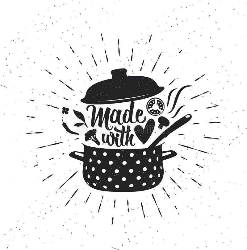 Inspirational typografie Gemaakt met liefde vector illustratie