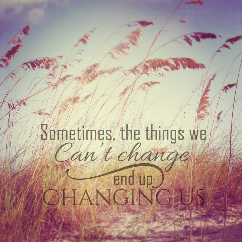Inspirational Typographic Quote - sometimes the things we cannot. Inspirational beach scene with typographic quote royalty free stock images