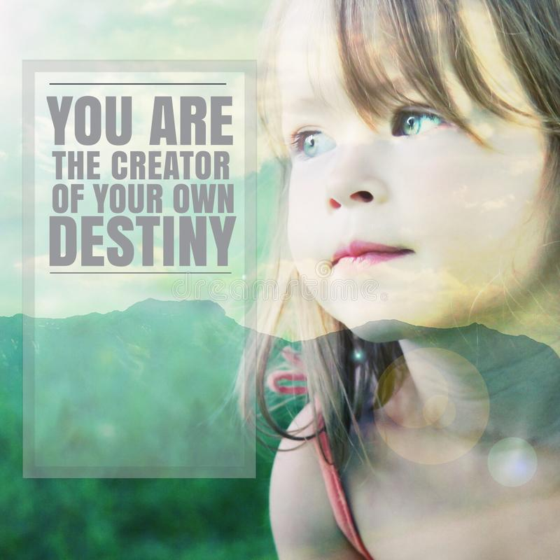 Free Inspirational Typographic Quote - You Are The Creater Of Your Own Destiny Stock Image - 55287661