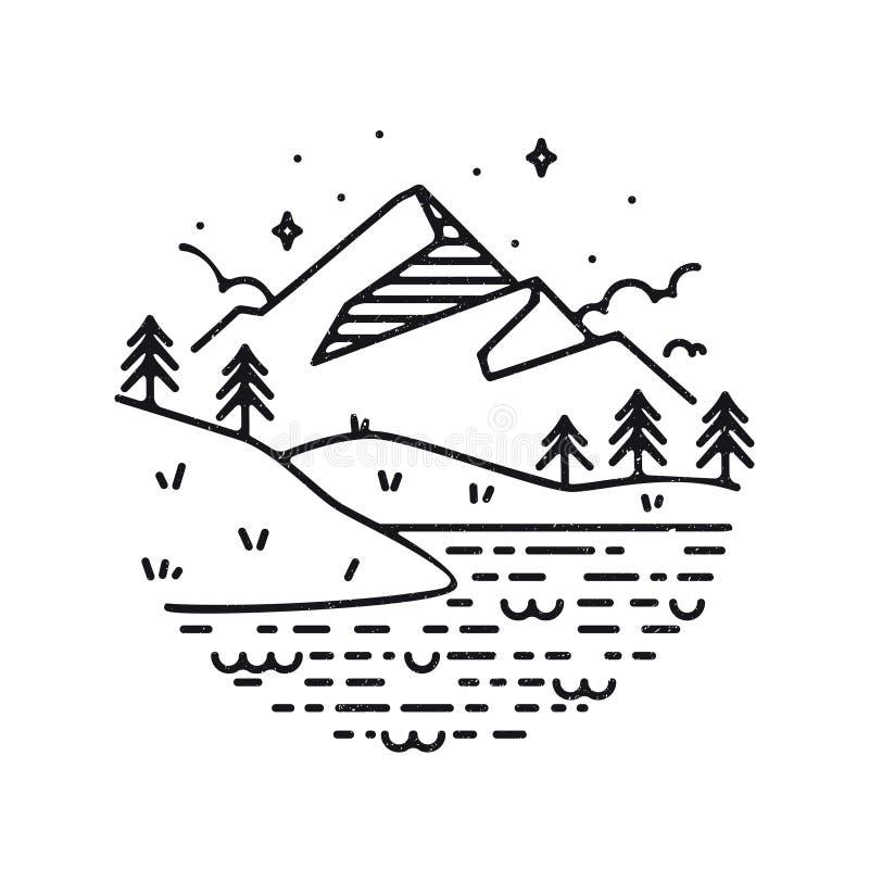 Inspirational vector illustration- mountains. Inspirational vector illustration - mountains and lake stock illustration