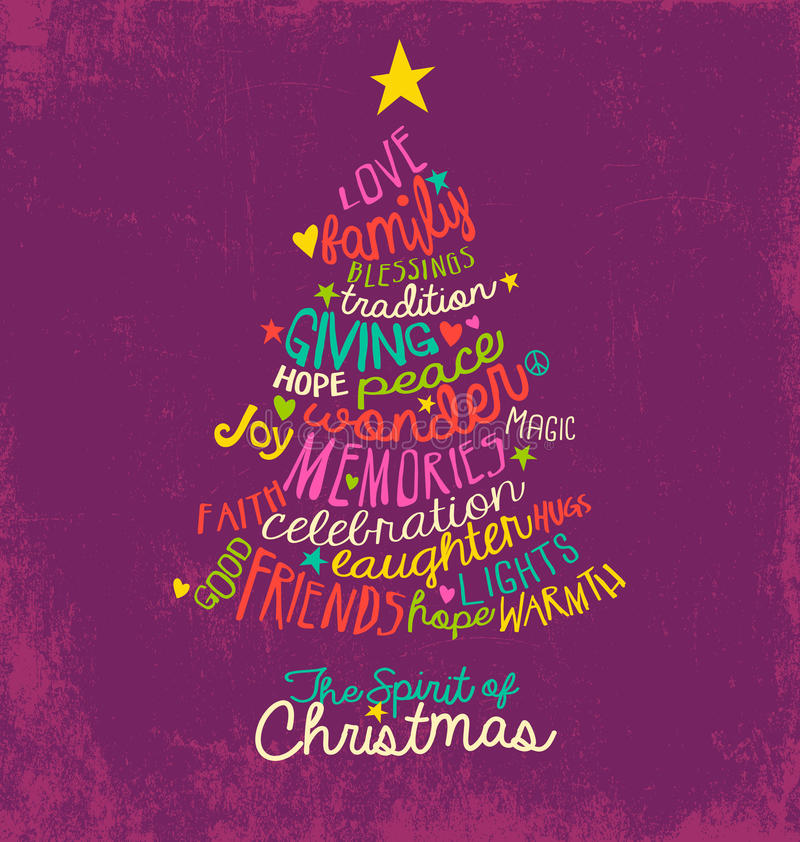 Inspirational word cloud Christmas tree greeting card design. Handwritten typography Christmas tree greeting card design stock illustration