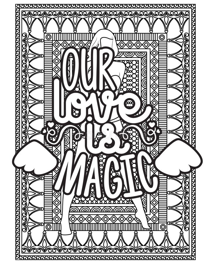 Inspirational Words Coloring Book Pages.motivational Quotes Coloring Pages  Design Stock Vector - Illustration Of Lettering, Flower: 183780770