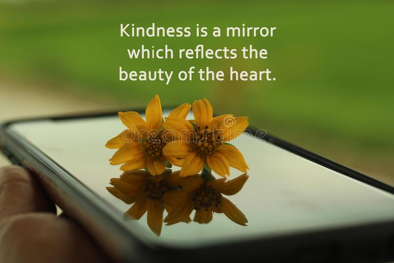 Inspirational words - Kindness is a mirror which reflects the beauty of the heart. With two daisy flowers on device surface. royalty free stock image