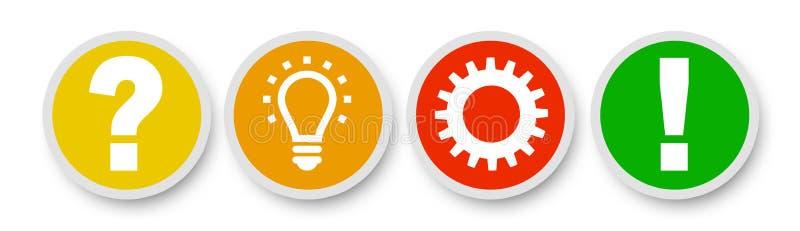 Inspirationbegreppet skrynklade den pappers- metaforen för den ljusa kulan för bra idé vektor illustrationer