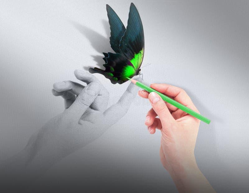 Inspirationskonzept mit schönem Schmetterling stockfotografie