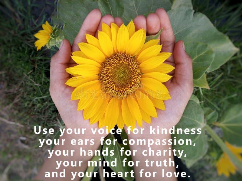 Inspirationsziffer - Verwenden Sie Ihre Stimme für Freundlichkeit, Ihre Ohren für Mitgefühl, Ihre Hände für Wohltätigkeit, Ihr Ve stockfotos