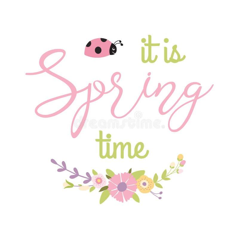 Inspirationvårcitationstecknet är det vårtid in i för blommabukett för försiktig blom- krans dekorativ nyckelpiga stock illustrationer