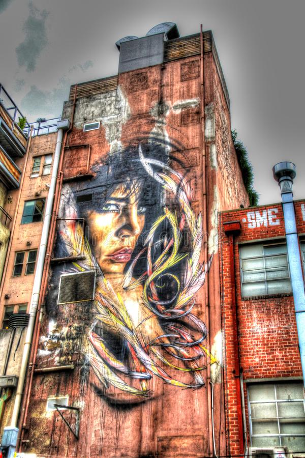 Inspirative Street art in Melbourne, Victoria, Australia. Melbourne, the capital of Victoria and the second largest city in Australia, has gained international royalty free stock images