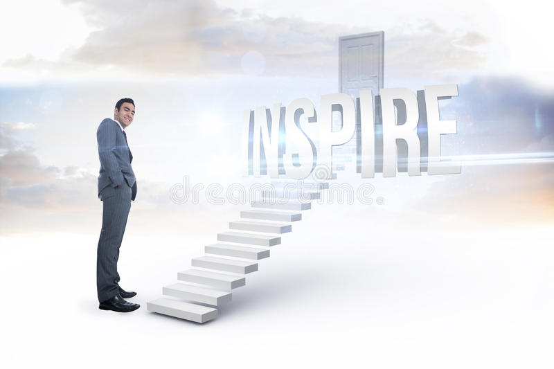 Inspire against white steps leading to closed door. The word inspire and smiling businessman standing against white steps leading to closed door royalty free stock images