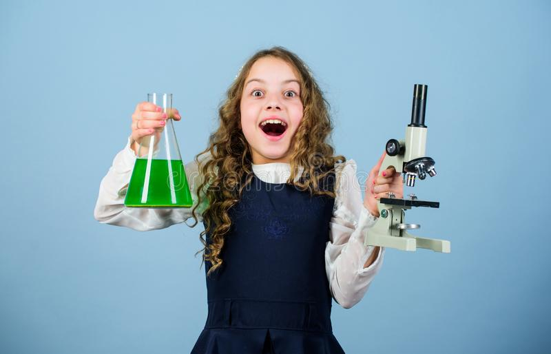 Inspire. back to school. child study bilogy lesson. Discover future. science research in lab. Small genius girl with. Microscope. education and knowledge. small stock images