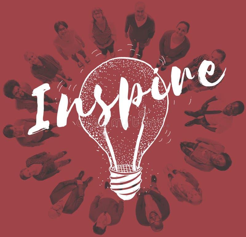 Inspire el concepto creativo de la creatividad de la motivación de la inspiración libre illustration
