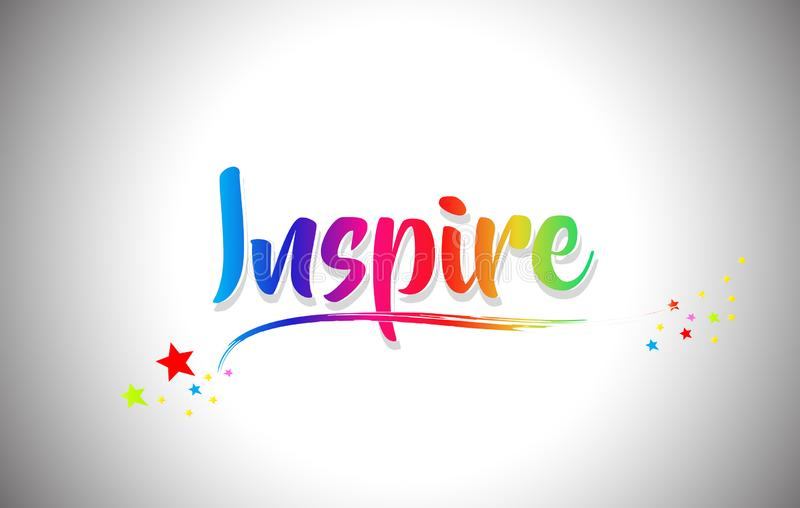 Inspire Handwritten Word Text with Rainbow Colors and Vibrant Swoosh vector illustration