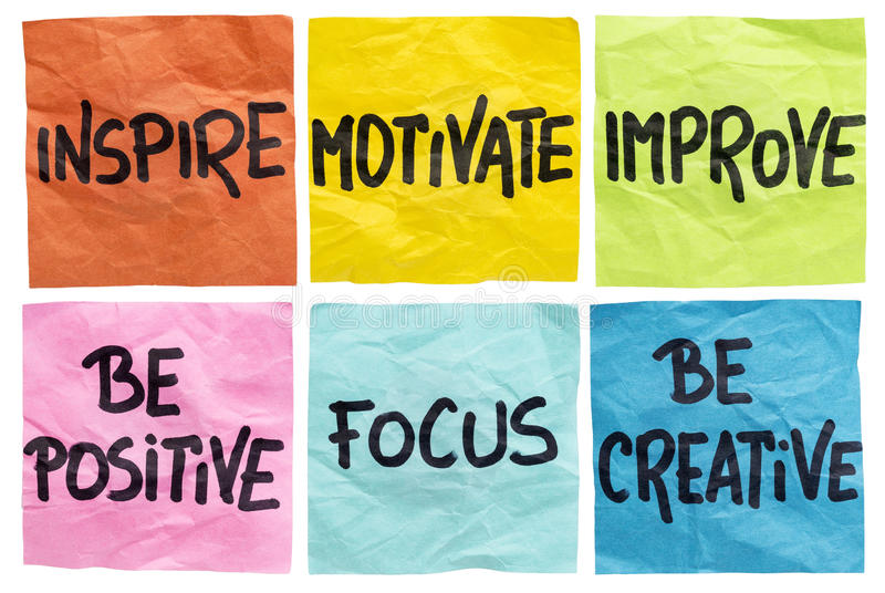 Inspire, motivate, improve notes. Inspire, motivate, improve, be positive, focus, be creative - a set of isolated crumpled sticky notes with motivational words stock images