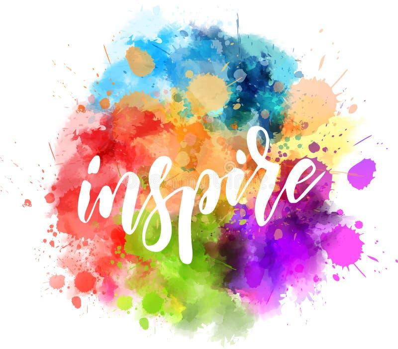 Inspire handwritten message on watercolor splash vector illustration