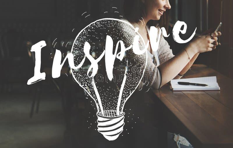 Inspire o conceito criativo da faculdade criadora da motivação da inspiração foto de stock