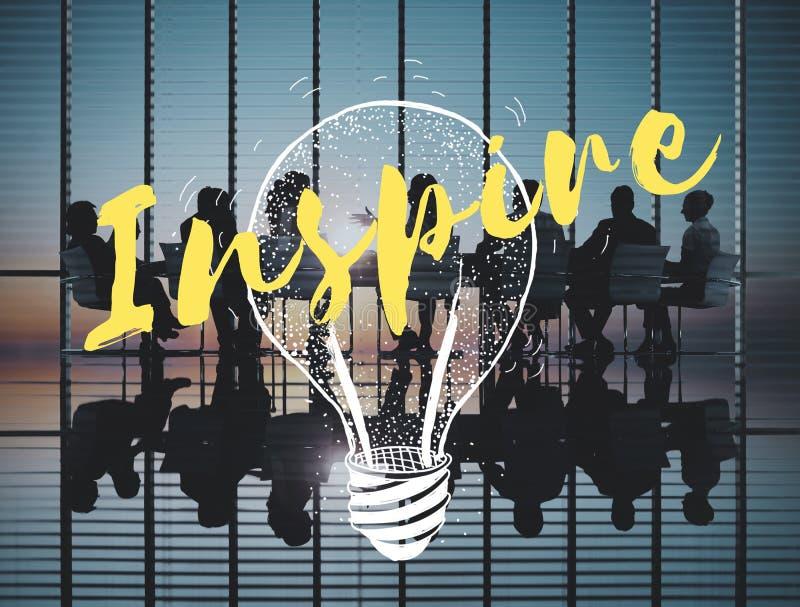 Inspire o conceito criativo da faculdade criadora da motivação da inspiração imagem de stock