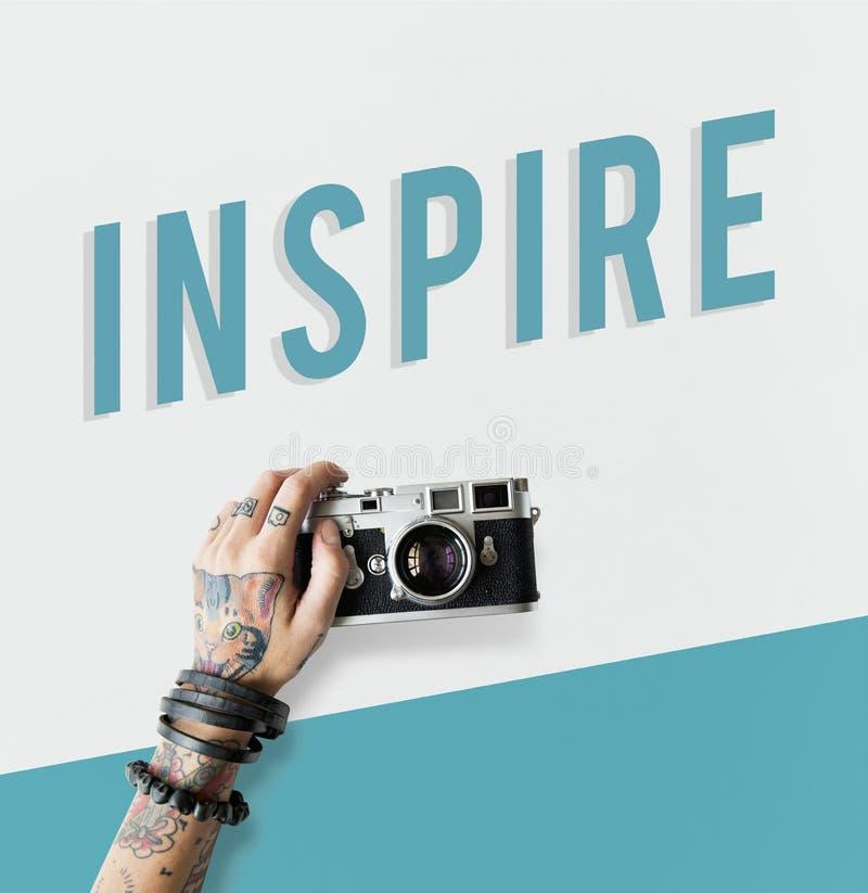 Inspire o conceito da palavra da positividade da inspiração fotografia de stock royalty free