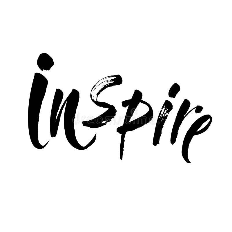 Inspire - o texto de tinta preta da inscrição da rotulação da mão, a motivação e citações positivas da inspiração, vetor da calig foto de stock royalty free