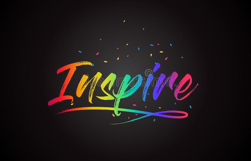 Inspire Word Text with Handwritten Rainbow Vibrant Colors and Confetti vector illustration