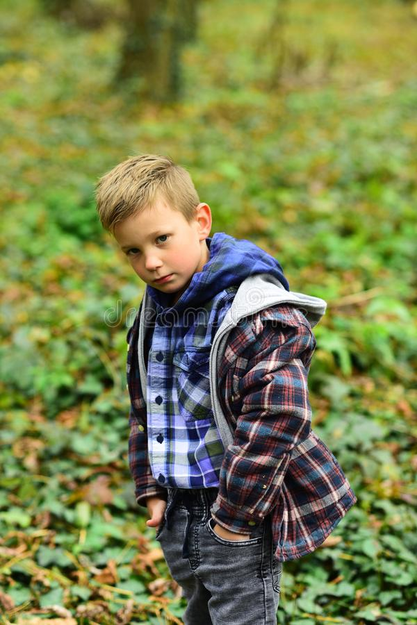Inspired by autumn. Little boy hiking in autumn forest. Little boy enjoy autumn day. September days are here.  royalty free stock images
