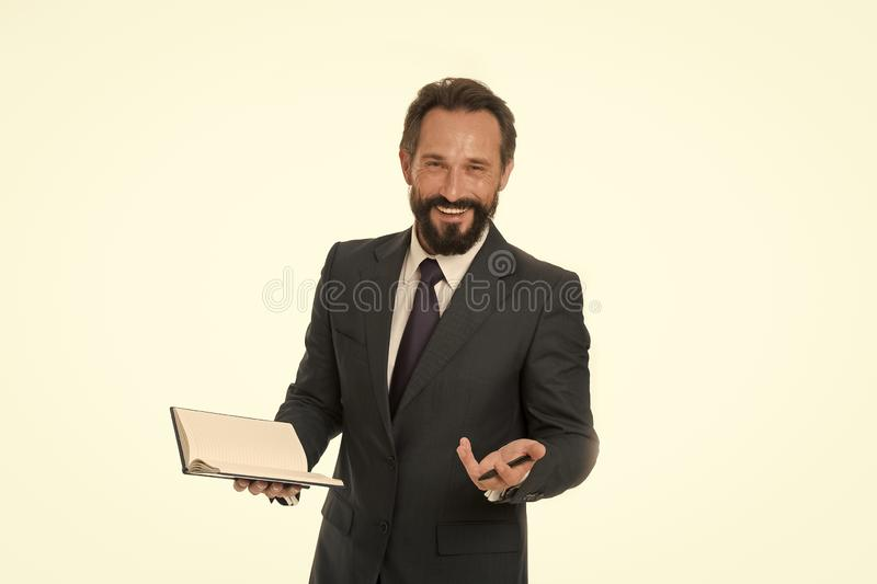 Inspired businessman. Happy man smile with notebook. Businessman with classy style. Bearded and handsome man. Inspired stock image