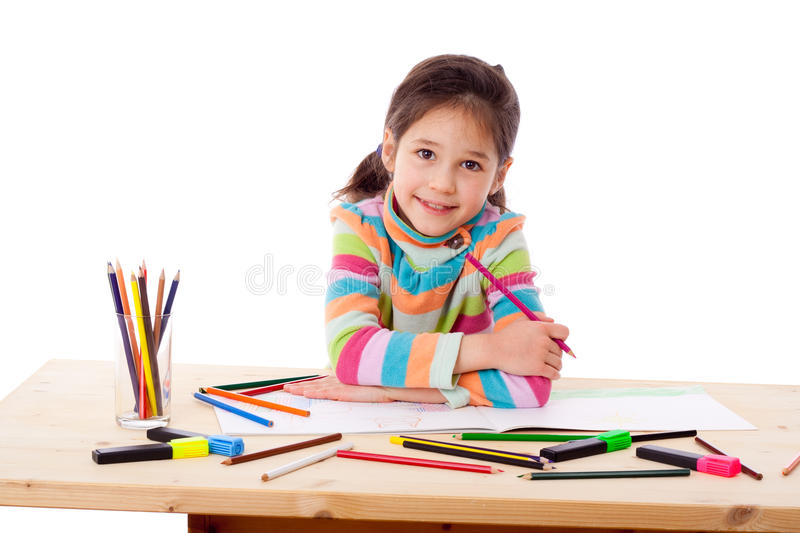 Download Inspired Girl Draw With Crayons Stock Photo - Image: 23969770