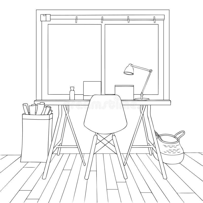 The Inspired Small Office Line Art Vector Illustration vector illustration