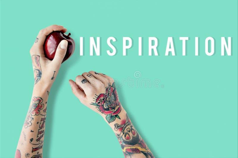 Inspireer het woordconcept van de inspiratiepositiviteit stock fotografie