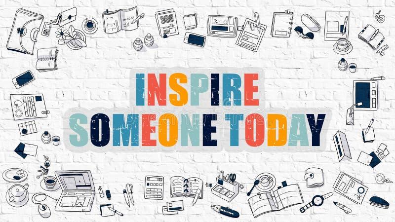 Inspireer iemand vandaag in Veelkleurig Blauwe naadloze opleverende achtergrond voor ontwerp en decoratie stock illustratie