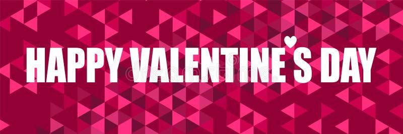 Inspirera citationstecken med den lyckliga valentindagen för ord på en abstrakt bakgrund med färgrika trianglar För titelrad kort stock illustrationer
