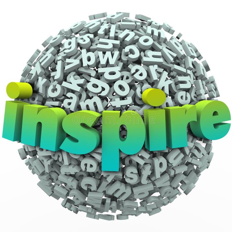 Inspirera för bokstavssfären för ordet 3D utbildning för bollen Motivational royaltyfri illustrationer
