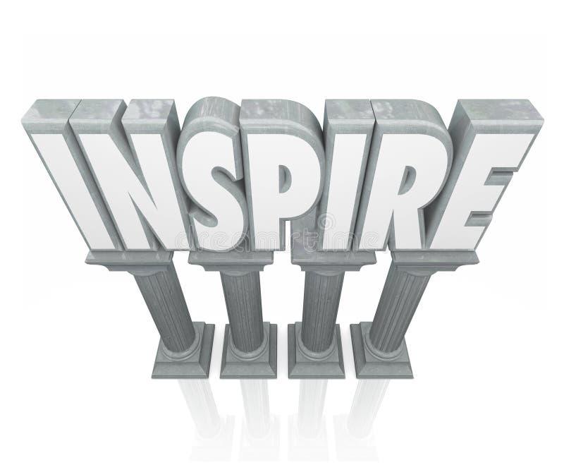 Inspirera för stenmarmor för ordet 3d kolonner uppmuntrar framgång Motivatio vektor illustrationer