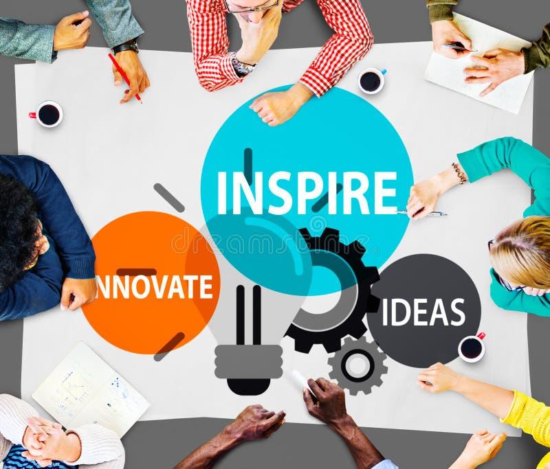 Inspirera idéer inför nyheter fantasiinspirationbegrepp arkivbild