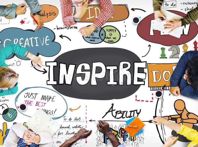 Inspirera idérik inspiration motiverar fantasibegrepp royaltyfri bild