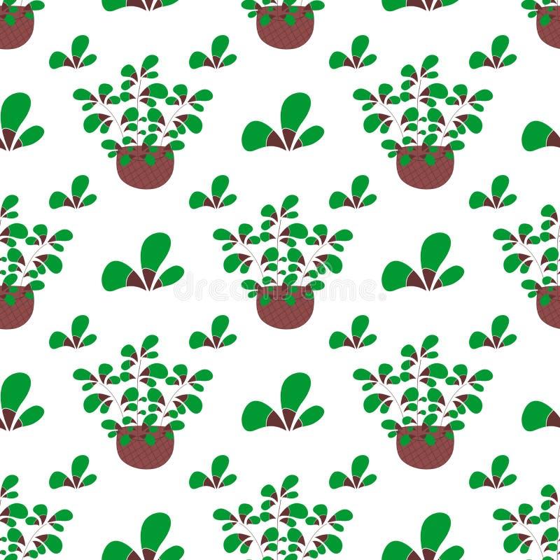 Inspirerad damast, blom- kvist i korgen, vårgarnering Sömlös repetitionvektormodell royaltyfri illustrationer