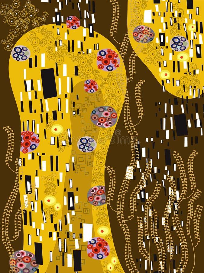 inspirerad klimt för abstrakt konst royaltyfri illustrationer