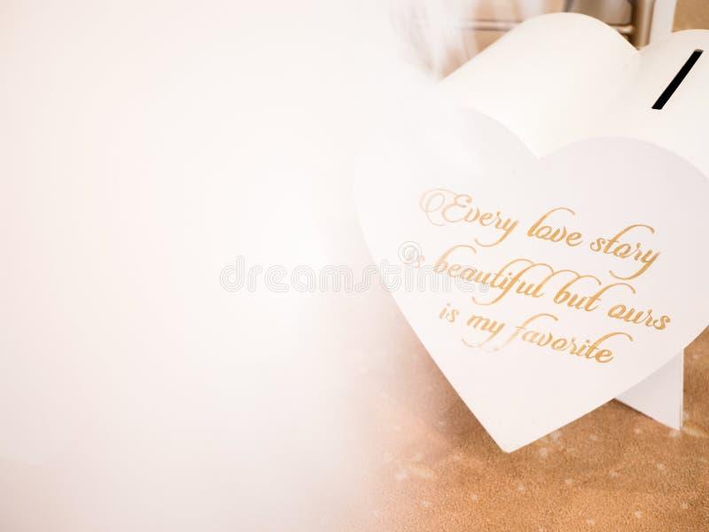 Inspirerande bröllopmeddelande för nära övre detalj royaltyfri fotografi
