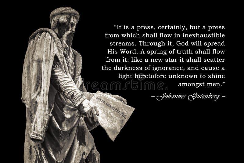 Inspirerande citationstecken av Johannes Gutenberg arkivfoto