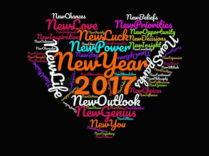 Inspirerande citationstecken för lyckligt nytt år 2017 och Motivational ordstävar på affischen för konstverk för svart hjärta för stock illustrationer